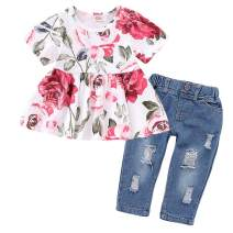 HenzWorld Little Girls Clothes Set Sleeveless Tank Tops Flowers Denim Short Pants Outfit Holiday 2T 3T 4T 5 6