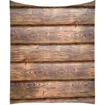 QCWN Wood Grain Tablecloth, Brown Wooden Retro Boho Style Tablecloth,Dining Room Kitchen Rectangular Table Cover.Brown 55x55Inch