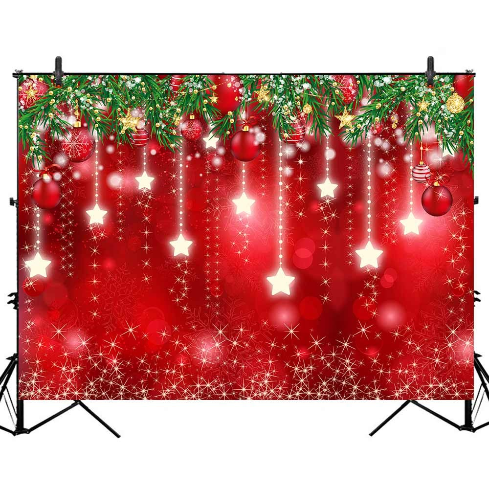 Allenjoy Red Bokeh Christmas Winter Backdrop Photography Newborn Baby Xmas New Year Party Decoration Banner 7x5ft Snowflackes Snow Pine Leaves Kids Portrait Photoshoot Background Photo Booth Props