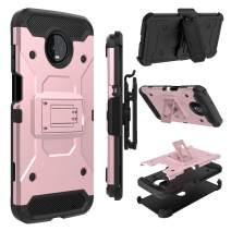 zenic Moto Z3 Play Case, Moto Z3 Case, Heavy Duty Shockproof Hybrid Full-Body Protection Case Cover with Swivel Belt Clip and Kickstand for Motorola Moto Z3 (Pink)