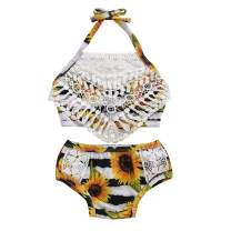 Toddler Baby Girl Swimsuit Sunflower Lace Sling Bikini Patchwork Floral Bikini Halter Top + Shorts Bathing Suits
