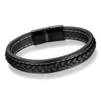 Cupimatch Men's Stainless Steel Braided Leather Wristband Bracelet Bangle