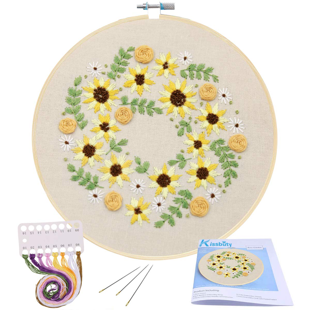 Full Range of Embroidery Starter Kit with Pattern, Kissbuty Cross Stitch Kit Including Stamped Embroidery Cloth with Floral Pattern, Bamboo Embroidery Hoop, Color Threads and Tools Kit (Sun Flowers)