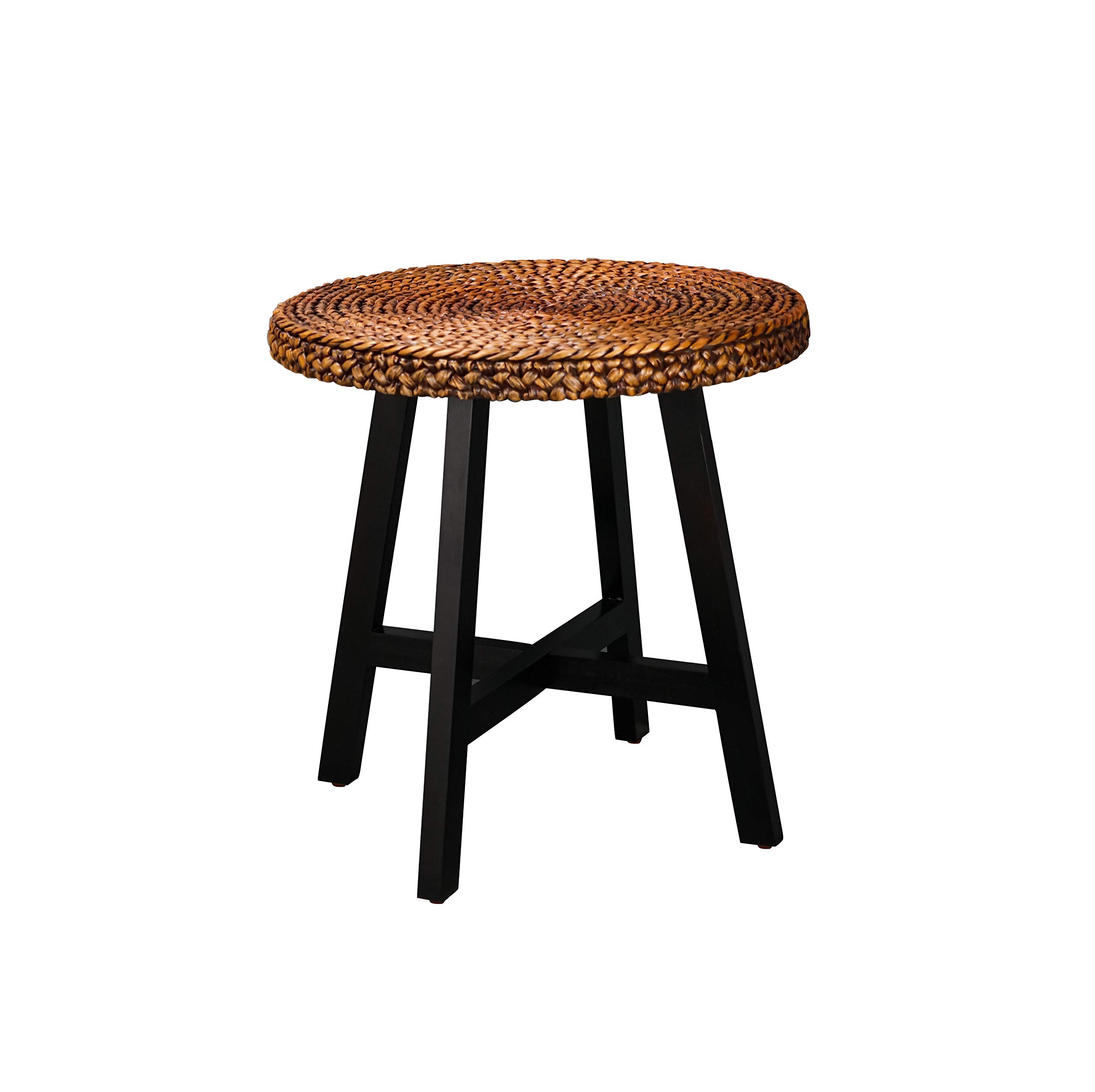 RANDEFURN Seagrass Side Table, Round Accent End Table 19.5x19.5x20 inches with Handmade Pine Wood Lges for Living Room, Bedroom, Outdoor. Gold