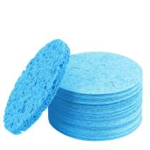 Compressed Facial Sponge Cellulose Cleansing Sponges Natural Cleaning Sponge For Face Neck Body Reusable Makeup Remover Cosmetics Use (60 Pcs, Blue)