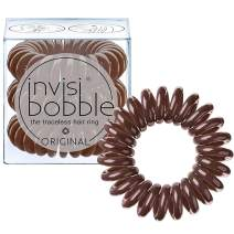 invisibobble Original Traceless Spiral Hair Ties With Strong Grip, Non-Soaking, Hair Accessories for Women- Pretzel Brown (Pack of 3)