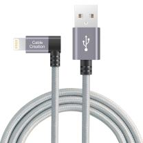 CableCreation Angle Lightning to USB Data Sync Charge Cable, 4 Feet 90 Degree iPhone Charger [MFi Certified], Compatible iPhone 11 Pro Max XR X Xs 8 7 Plus 6S 6 5 iPad iPod, Space Gray, 1.2 M