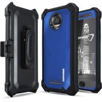 Moto Z2 Play Case Case, COVRWARE [Ranger Pro] Built-in [Screen Protector] Full Body Rugged Holster Armor Case [Belt Swivel Clip][Kickstand], Blue