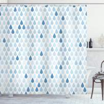 """Ambesonne Blue and White Shower Curtain, Minimalist Rain Drops Motive in Tones Tears of Earth Air Gravity Image Art, Cloth Fabric Bathroom Decor Set with Hooks, 75"""" Long, Light Blue"""