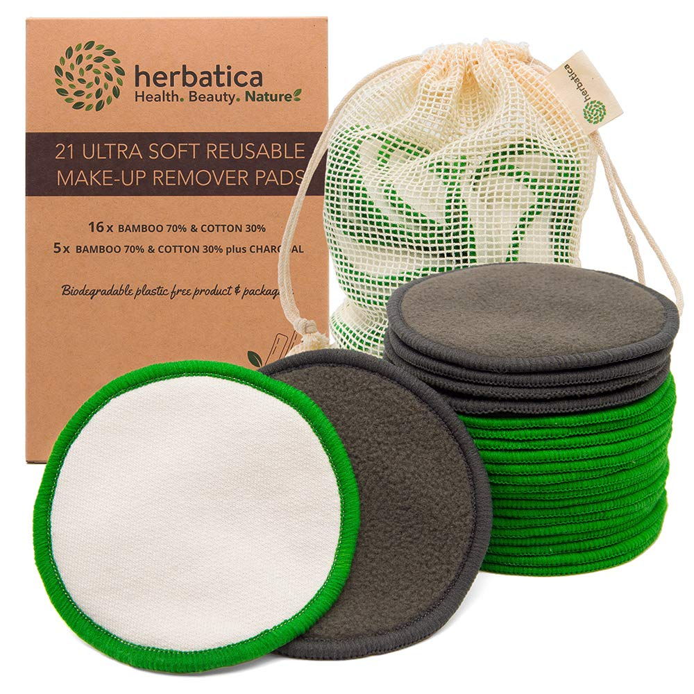 Reusable Makeup Remover Pads - Pack of 21 Reusable Cotton Rounds with Laundry Bag - Washable Bamboo Makeup Remover Pads - Eco Friendly Organic Cotton Pads for all Skin Types