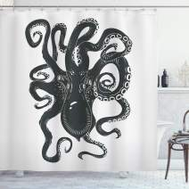 """Ambesonne Octopus Shower Curtain, Octopus Character with Curling Tentacles Swimming Underwater Wildlife, Cloth Fabric Bathroom Decor Set with Hooks, 75"""" Long, Grey Charcoal"""