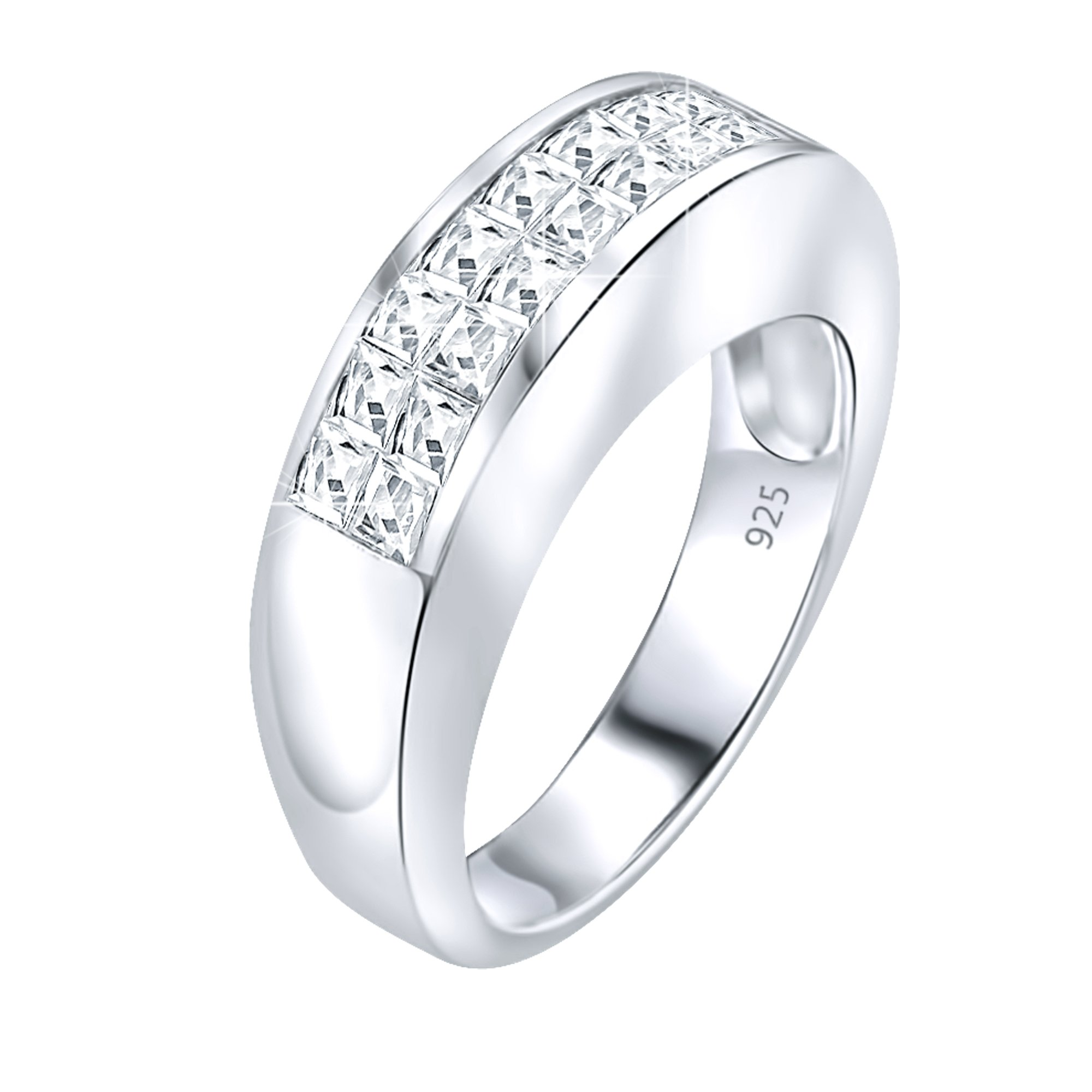 Sterling Silver .925 Designer Wedding Ring Band with Channel-Set Cubic Zirconia (CZ) Stones, Platinum Plated Jewelry. for Men and Women