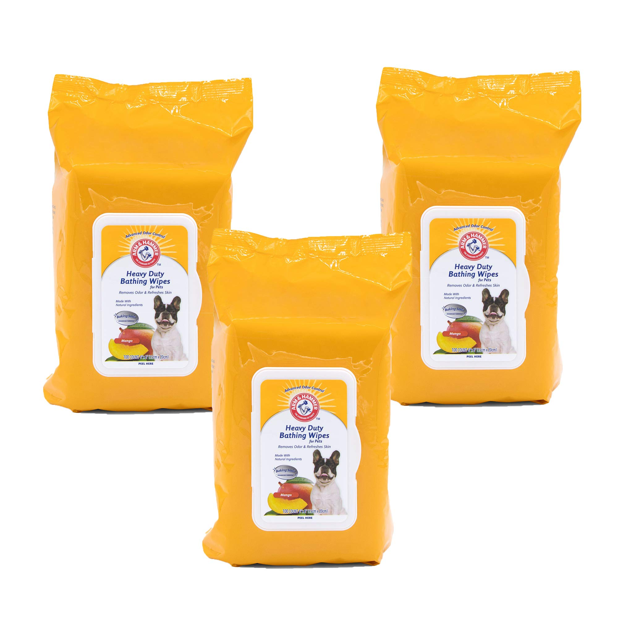Arm & Hammer Heavy Duty Multipurpose Pet Bath Wipes | Dog Wipes Remove Odor & Refreshes Skin | Mango, 100 Count - 3 Pack