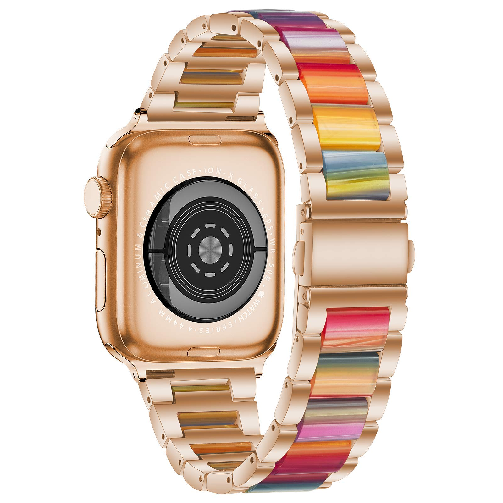 YEAPREE Stainless Steel Resin Bands Compatible with Apple Watch Band 44mm 42mm 40mm 38mm , Metal Bling Chains Strap Bracelet Wristband for iWatch Series 6/5/4/3/2/1/SE