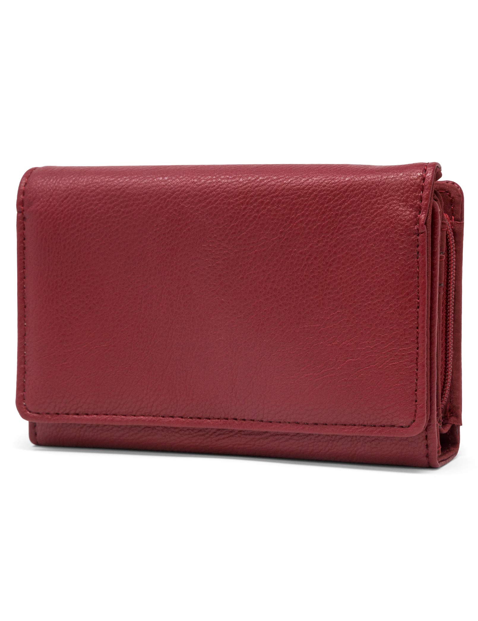 Mundi Small Womens RFID Blocking Wallet Compact Trifold Safe Protection Clutch With Change Purse ((Red))