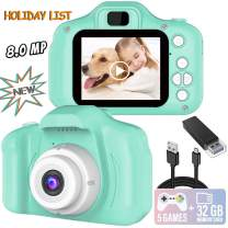 Kids Camera, 8.0 MP FHD Digital Video Recorder Shockproof Action Cameras with 2 Inch IPS Screen and 32GB SD Card for Girls Boys Gifts Green