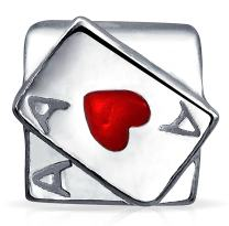 Good Luck Ace Of Hearts Poker Player Cards Casino Travel Charm Bead Sterling Silver Fits European Bracelet
