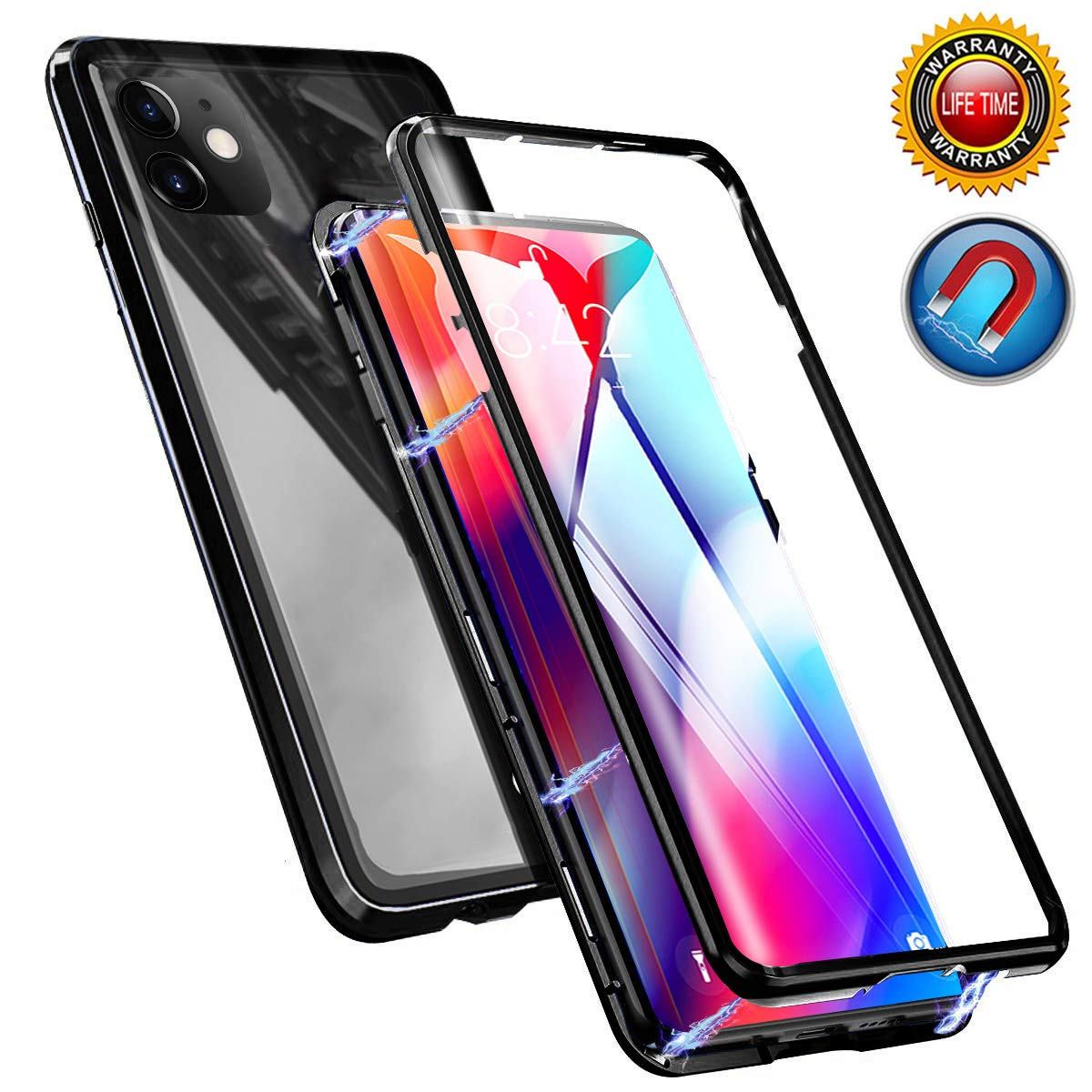 Magnetic Adsorption Case for iPhone 11 Pro Max, Magnetic Case Front and Back Tempered Glass Magnet Cover, Full Body Protective Case with Metal Bumper Frame for iPhone 11 Pro Max 6.5 Inch 2019 (Black)