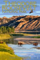 Theodore Roosevelt National Park, North Dakota - Bison Crossing River (9x12 Fine Art Print, Home Wall Decor Artwork Poster)