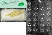 Cybrtrayd Bite Size Star of David Chocolate Candy Mold with Chocolate Packaging Bundle, Includes 25 Cello Bags, 25 Gold Twist Ties and Exclusive Cybrtrayd Copyrighted Chocolate Molding Instructions