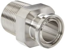 """Dixon 21MP-R75 Stainless Steel 316L Sanitary Fitting, Clamp Adapter, 3/4"""" Tube OD x 3/4"""" NPT Male"""