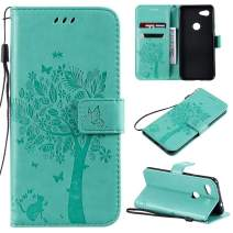 Cmeka 3D Cat Tree Flower Butterfly Wallet Case for Google Pixel 3a XL Slim Flip Leather Protective Case Magnetic Closure Credit Card Slots Holder Kickstand Function Mint Green