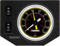 "Vixen Air One 2"" Dual Needle Air Pressure Black Gauge with Two Momentary Switches and Metal Dash Panel Kit VXF1GP2RKB"