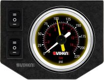 """Vixen Air One 2"""" Dual Needle Air Pressure Black Gauge with Two Momentary Switches and Metal Dash Panel Kit VXF1GP2RKB"""