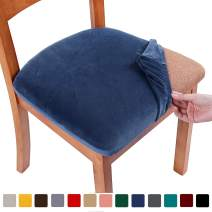 smiry Original Velvet Dining Chair Seat Covers, Stretch Fitted Dining Room Upholstered Chair Seat Cushion Cover, Removable Washable Furniture Protector Slipcovers with Ties - Set of 6, Federal Blue