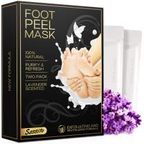 Foot Peel Mask - 2-Pack - Exfoliating Lavender Scented Booties for Cracked Heels, Dead Skin, Calluses - Revitalizing Formula Makes Your Feet Baby Soft