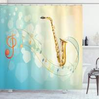 """Ambesonne Music Shower Curtain, Colorful Music Notes Vibes from Saxophone Jazz Background Illustration Artwork Print, Cloth Fabric Bathroom Decor Set with Hooks, 70"""" Long, Pale Blue"""