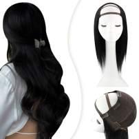 YoungSee U Part Wig Human Hair 16inch Black U Part Wig Clip in #1 Jet Black Wigs Human Hair U Part Medium Cap Black U Part Human Hair Wigs 120G
