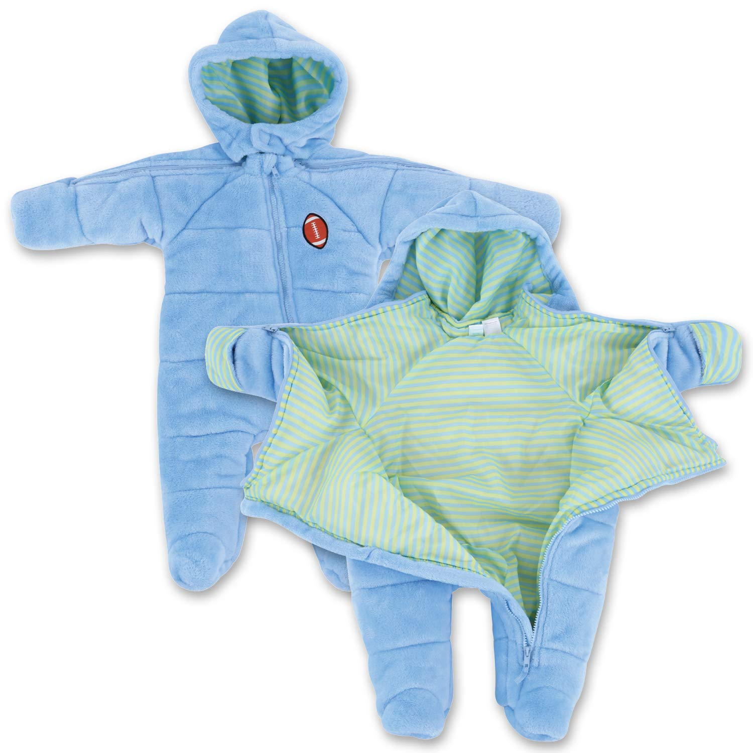 Infant Boy EZ Off Full Zip Hooded Warm Jacket - Great for Sleeping Children - Perfect Baby Gift