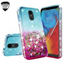 Compatible for LG Escape Plus Case, Arena 2 /Tribute Royal/Journey LTE /K30 2019 Case, with [Tempered Glass Screen Protector] Diamond Quicksand Cover Cute Girl Women Phone Case - Pink on Teal