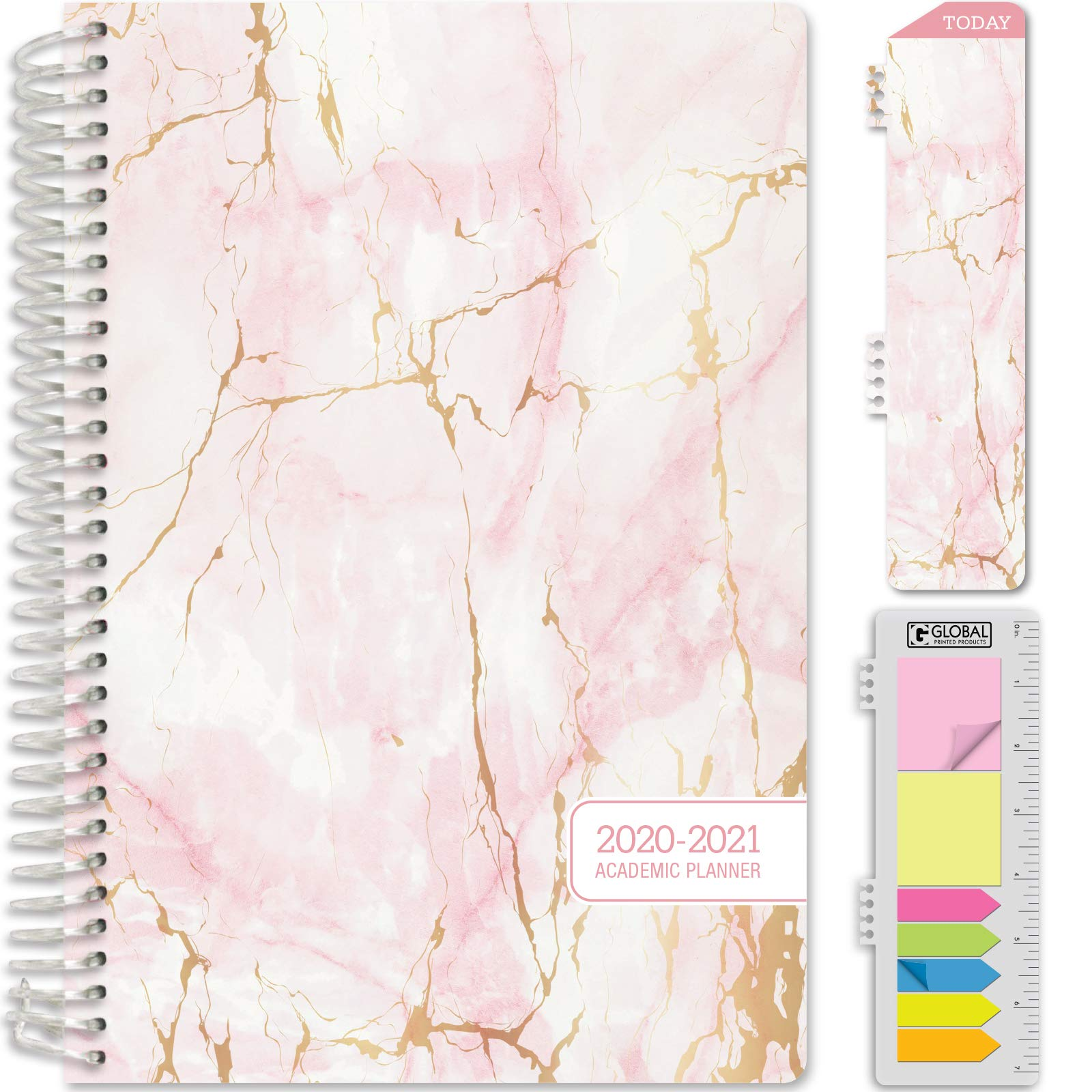 """HARDCOVER Academic Year 2020-2021 Planner: (June 2020 Through July 2021) 5.5""""x8"""" Daily Weekly Monthly Planner Yearly Agenda. Bonus Bookmark, Pocket Folder and Sticky Note Set (Pink Marble)"""