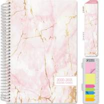"HARDCOVER Academic Year 2020-2021 Planner: (June 2020 Through July 2021) 5.5""x8"" Daily Weekly Monthly Planner Yearly Agenda. Bonus Bookmark, Pocket Folder and Sticky Note Set (Pink Marble)"