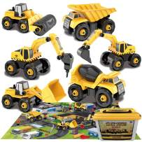 """Gifts2U Construction Take Apart Trucks STEM Learning Toys with 31.5"""" x 27.6""""Play Mat, 5 Construction Vehicles, 10 Road Signs, 2 Screwdrivers Included, Best Gift Toys for Boys & Girls Ages 3+"""