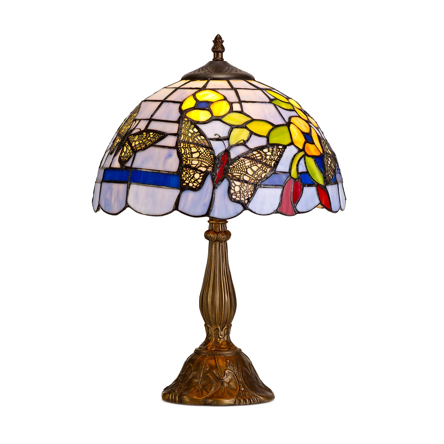 """Tiffany Table Lamp Butterfly & Floral Patterns on Crafted Lampshade, UL Listed 19"""" Tall Blue Antique Decorative Tiffany Desk Lamp with Stained Glass Shade for Living Room Bedroom, Bulb Included"""