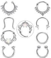 FIBO STEEL 8 Pcs 16g Stainless Steel Septum Ring Nose Hoop Clicker Septum Retainer Set Body Piercing Jewelry