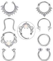 FIBO STEEL 8 Pcs 16g Stainless Steel Septum Ring Nose Hoop Clicker Septum Retainer Set Body Piercing Jewelry