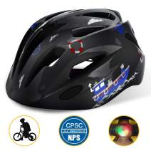 Shinmax Kids Bike Helmet, CPC Certified Children Safety Helmet with LED Light for Boys&Girls Cycling Skating Riding Scooter