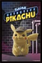 "Trends International Pokémon: Detective Pikachu - Neon, 22.375"" x 34"", Black Framed Version"