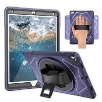 iPad 9.7 2018 2017 (6th / 5th Generation) with Screen Protector and Stylus - Heavy Duty Three Layer Full-Body Rugged Shockproof Protective with Hand Strap, 360 Rotatable Kickstand Navy Blue