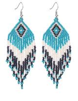 Native American Beaded Tassel Earrings with Fringe Seed Bead Boho for Women Long Dangle Beads Jewelry