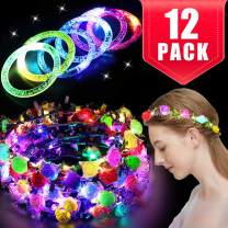TOPLEE 12 Pack Party Favors for Kids Adults, 6 Light Up Headbands for Women 6 Glow Sticks Bracelet Glow in The Dark Party Supplies Led Flower Crowns Glow Party Accessories Light Up Toys Bulk