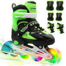 PETUOL Kids Inline Skates, Adjustable and Safe Durable Roller Skates with All 8 Full Light Up Illuminating Wheels, Fashionable Outdoor Sport Skates for Boys and Men