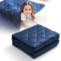 CO-Z 10lbs Weighted Blanket for Kids Navy Blue Size 41x60 inches 300TC Premium Breathable 100% Cotton Material, Durable Soft Heavy Blanket with Glass Beads, Skin-Friendly Oeko-TEX Certified