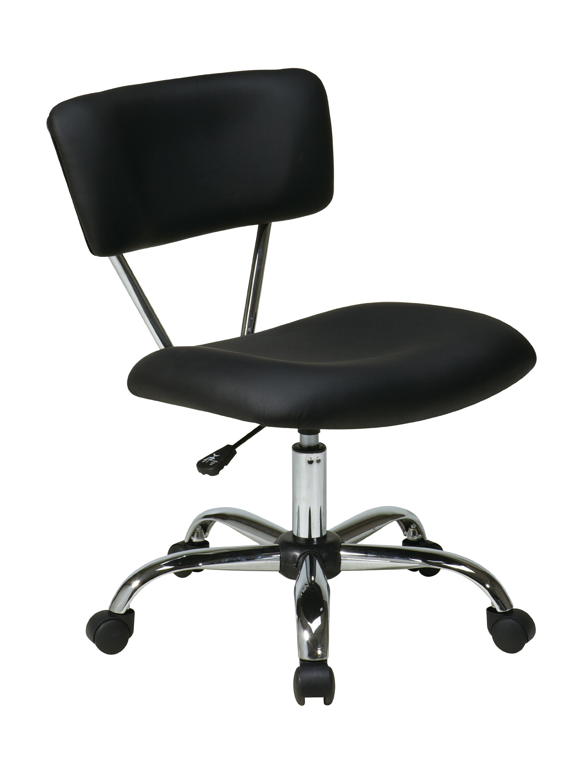 AVE SIX Vista Faux Leather Seat and Back Task Chair with Chrome Accents, Black
