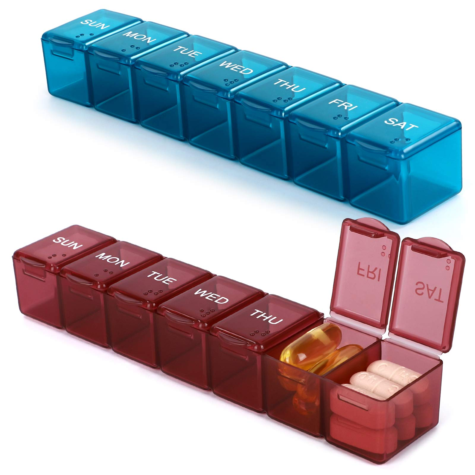 2 Pack Small and Cute Pill Case,Weekly Pill Organizer,Mini Pill Box for Travel,Weekly Pill Dispenser(Emerald Green+Maroon)