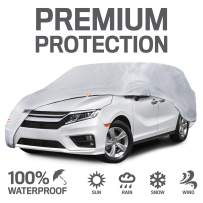 """Motor Trend 7-Series Defender Pro Waterproof Van SUV Car Cover for All Weather-Snow Wind Rain & Sun-Heavy Duty XL Fits Up to 225"""""""